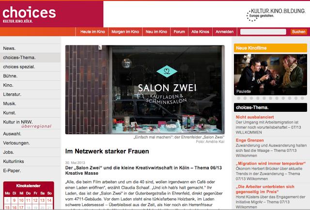 CHOICES Artikel über Salon Zwei Mai 2013