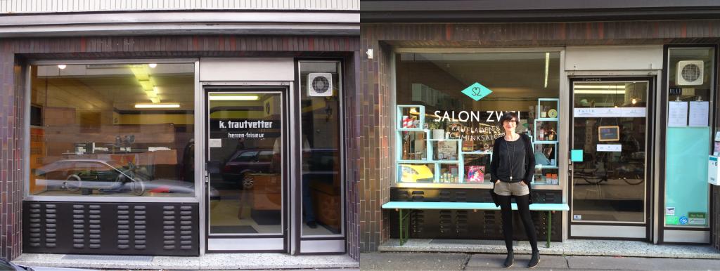 Alte und neue Außenansicht vom Salon Zwei
