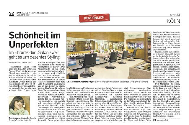 Kölnische Rundschau Artikel über Salon Zwei