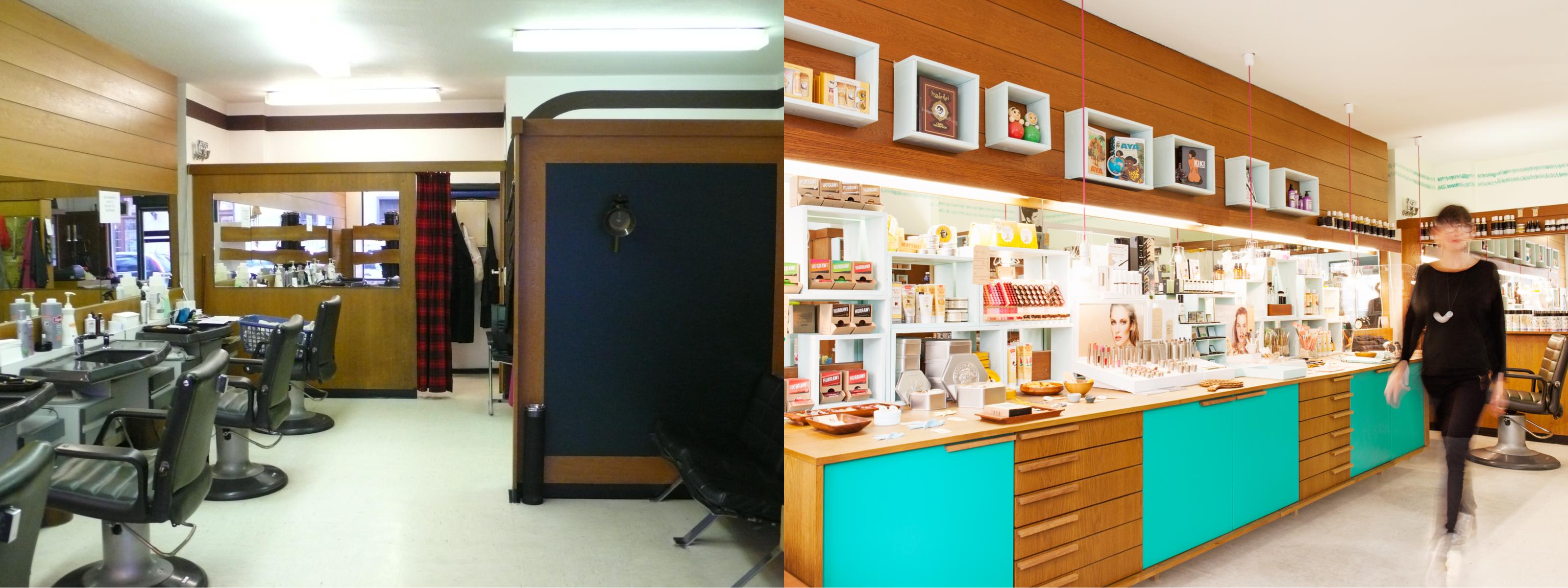 Alte und neue Innenansicht des Salon Zwei. Früher Herrenfriseur heute Naturkosmetikparadie
